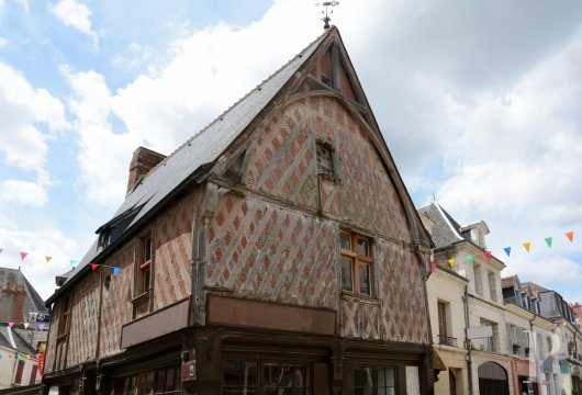 A partially listed, 15th century, half-timbered house in a medieval town  where the three old French provinces of Touraine,