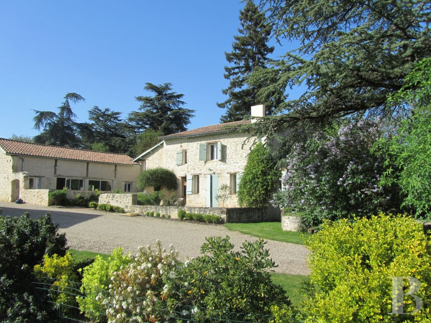A comfortable, country, stone house with a barn awaiting restoration on 3  ha of undulating land between Bordeaux and Toulouse